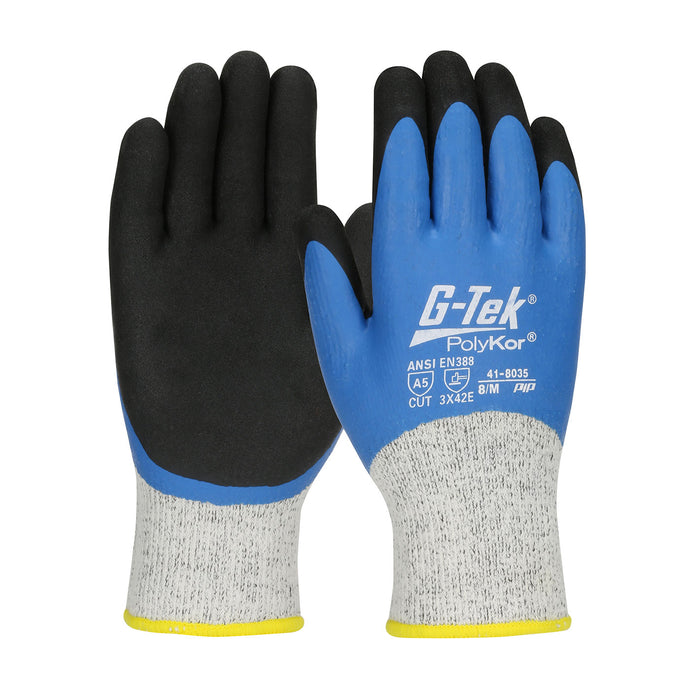 G-Tek® PolyKor® Seamless Knit Single-Layer PolyKor® / Acrylic Blended Glove with Double-Dipped Latex Coated MicroSurface Grip on Full Hand