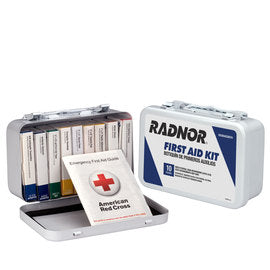 Radnor® White Metal Portable Or Wall Mounted 10 Person 10 Unit First Aid Kit