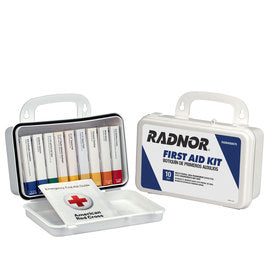 Radnor® White Plastic Portable Or Wall Mounted 10 Person 10 Unit First Aid Kit