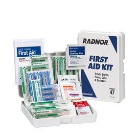 Radnor® White Plastic Portable Mounted 1 Person 47 Piece First Aid Kit