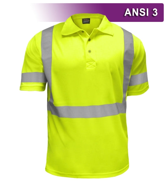 Safety Polo: Hi Vis Polo Shirt: Lime Birdseye: ANSI 3