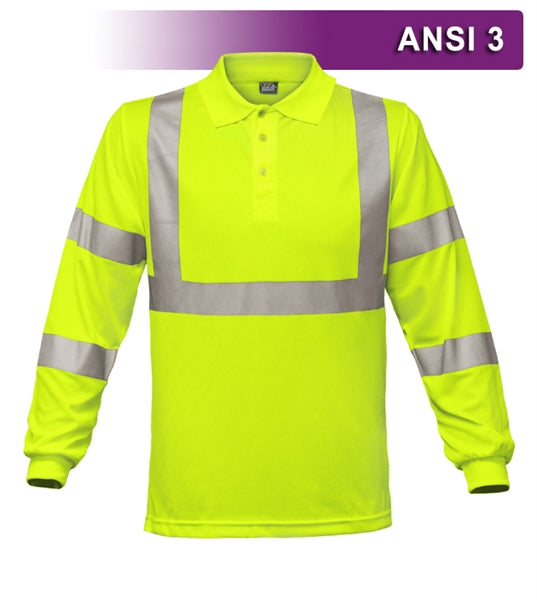 Safety Polo: Hi Vis Polo: Long Sleeve Lime Birdseye: ANSI 3