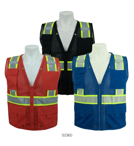 3A-Safety 100% polyester mesh safety, multi pocket surveyors vest