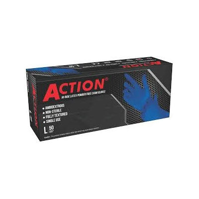 Shamrock Action Series - 15 MIL  Powder-Free Latex Examination Gloves (Box of 50) Small
