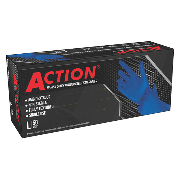 Shamrock Action Series - 15 MIL  Powder-Free Latex Examination Gloves (Box of 50) Large
