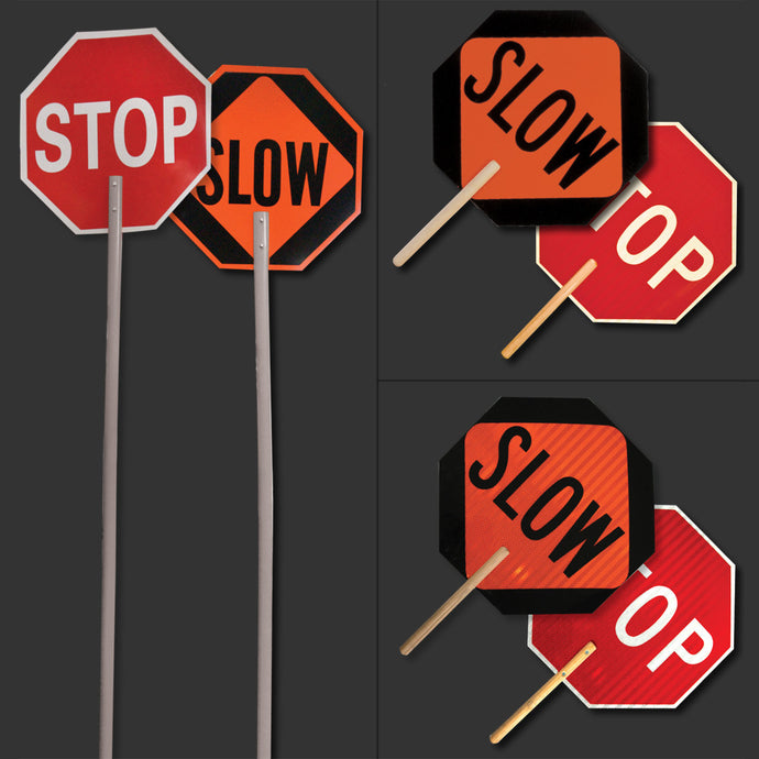 High Intensity Reflective Stop and Slow Signs - Handheld