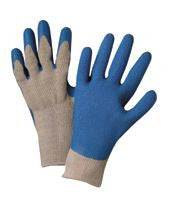 Gray and Blue Coated String Gloves
