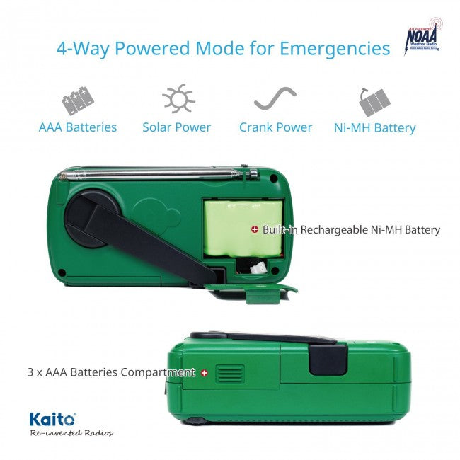 Kaito Voyager V2 Portable Solar / Hand Crank AM/FM, Shortwave & NOAA Weather Emergency Radio with USB Cell Phone Charger & LED Flashlight (Green)