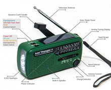 Load image into Gallery viewer, Kaito Voyager V2 Portable Solar / Hand Crank AM/FM, Shortwave & NOAA Weather Emergency Radio with USB Cell Phone Charger & LED Flashlight (Green)