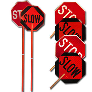 ML Kishigo High Intensity Reflective Stop and Slow Signs - Handheld
