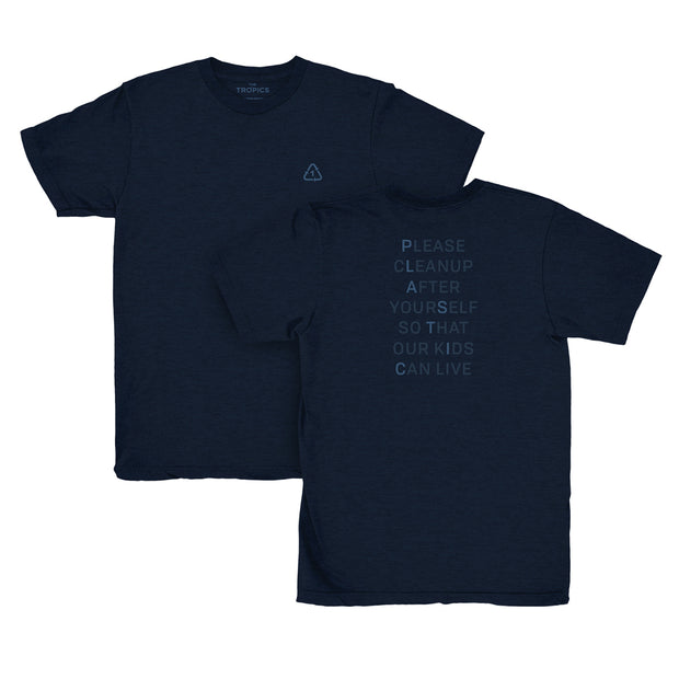 Plastic T-shirt Navy - 100% recycled materials