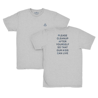 Plastic T-shirt Grey - 100% recycled materials