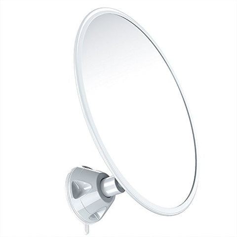 gideon fogless shower mirror with strong suctioncup mounting base 7 inch diam 360 degree rotating for optimal view position for shaving