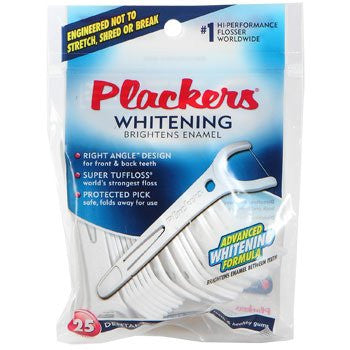 Plackers Whitening Right Angle Flossers, 25 Count