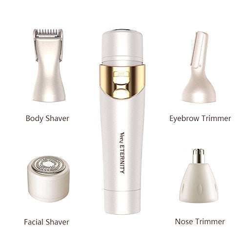 4 in 1 Electric Hair Shaver for Women Professional Hair Shaver Painless Trimmer for Bikini, Body, Nose, Eyebrow, Facial Hair Removal (WHITE)