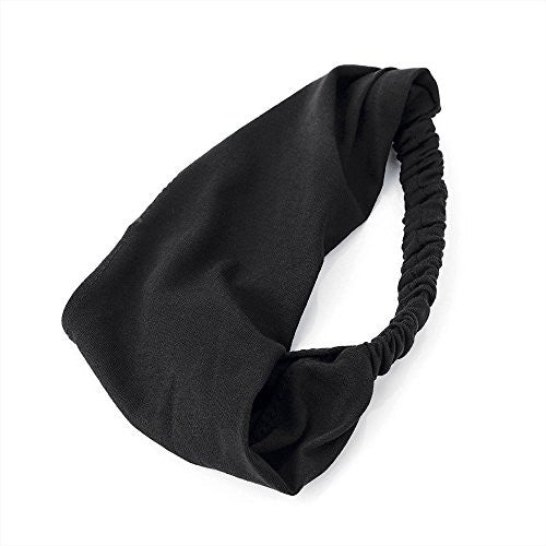 Black Jersey Fabric Stretch Head Wrap Headband Hair Band Elastic