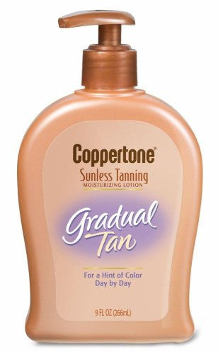 Coppertone Sunless Tanning Moisturizing Lotion, Gradual Tan, 9-Ounce Pump Bottles (Pack of 2)