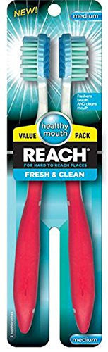 Reach Fresh N Clean Toothbrush, Medium, 2 Count- Pack of 3, (Colors May Vary)