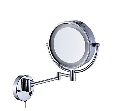 Cavoli Lighted Bathroom Makeup Mirror With LED Light Wall Mount 10x Magnification Mounted Vanity Chrome Finish 9 Inch