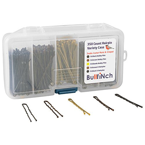 350 Count Bobby Pin Assortment Set by BullfiNch - Organizer Compartment - Variety Hair Pin Case