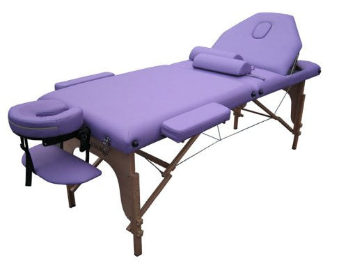 "Purple 2"" Pad 3 Fold Reiki Massage Table W/Free Two Bolster"