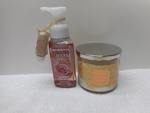 Bath and Body Works Warm Vanilla Sugar - Clean & Cozy Gift Set 2015 14.5oz 3 Wick Candle, 8.75oz Foaming Hand Soap, and 1oz Pocketbac with Holder