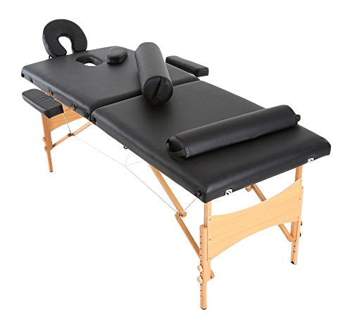 Anself Adjustable Folding Massage Table Facial Bed, 2 Fold with 2 Piece Bolsters for Spa Salon Beauty Tool