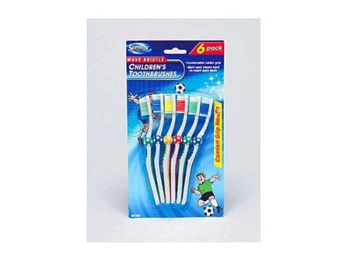 6 Pack children&-039;s wave bristle toothbrushes - Pack of 48