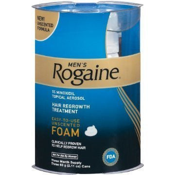 Rogaine Men's Hair Regrowth Treatment, Unscented Foam, 3 ct