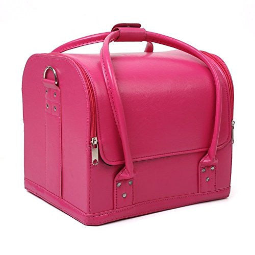 Mvpower Professional Large Removable PU Leather Cosmetic Makeup Vanity Box Jewelry Saloon Case Bag (Multi-colors) (11.8X9X9.8 Pink)