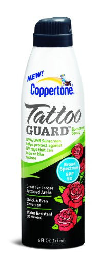 Coppertone Tattoo Guard Continuous Spray SPF 50, 6 Fluid Ounce