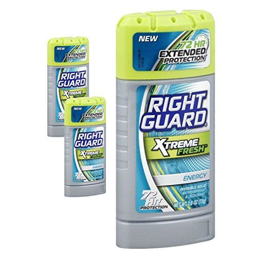 (3 Pack) Right Guard Xtreme Fresh Antiperspirant & Deodorant, Energy, Invisible Solid 2.6 Oz
