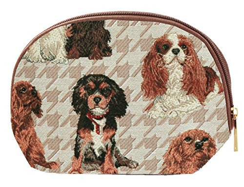 Signare Womens Fashion Canvas Tapestry Cosmetic Make-up Bag in Cavalier King Charles Spaniel Design