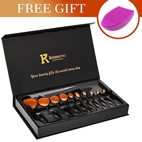 KeizerPro Professional Makeup Brushes - 10 Piece Set of NEW Pro Makeup Brushes + Free Silicone Cleaner - Full Gift Box Set for Perfect and Easy Makeup Even at Home