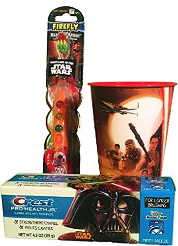 3pcs Firefly Ready Go Brush Light Up Oral Hygiene Set: Star Wars BB 8 Light Up Timer Toothbrush, Tube Crest Pro-Health Jr. Toothpaste 4.2 oz., and Star Wars Rinse CupGift sets by ZD