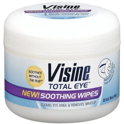 Visine Total Eye Soothing Eye Wipes to Remove Makeup, 30 Ea (Pack of 4)