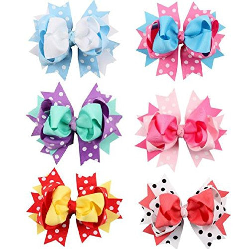 Sankuwen Girl Kids Child Cloth Hair Bows Hairpin Headdress (6 pcs Color)