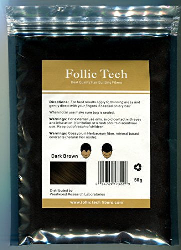 Follic Tech Hair Building Fibers Dark Brown 50 Grams Highest Grade Refill That You Can Use for Your Bottles from Competitors Like Toppik®, Xfusion®, Miracle Hair® Made In The USA not China!