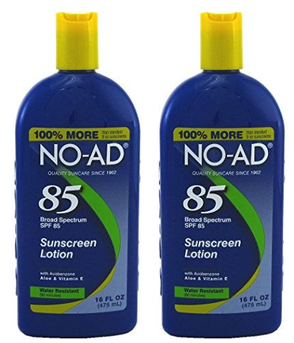 NO-AD Water Resistant Sunscreen Lotion, SPF 85 16 fl oz (Pack of 2)