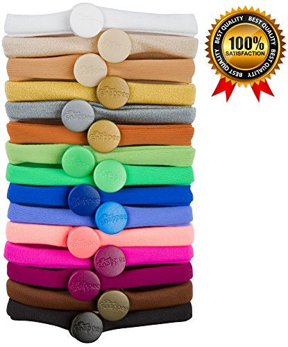 PREMIUM No Crease Snap-Off Hair Ties By Snappee - Easy Ouchless Removal with Non-Elastic, Long-Lasting, Soft Stretchy Material for Natural, Thick and All Hair Types! (Rainbow Edition)