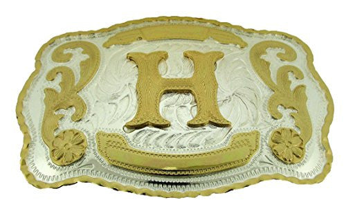 Gold Monogram Letter H Large Western Belt Buckle