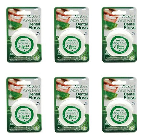 (6 PACK) - Aloe Dent Aloe Vera Dental Floss | 30MtrMtr | 6 PACK - SUPER SAVER - SAVE MONEY