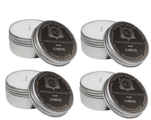 Aquiesse Travel Tin Candle Set, 4 Pack - Embers
