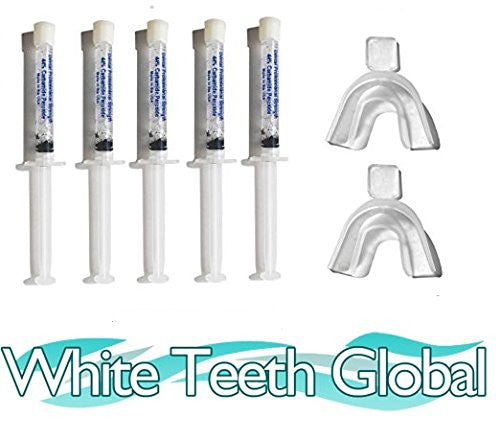White Teeth Global Teeth Bleaching Whitening at Home Kit, 35% Gel Syringes 10cc , 2 Mouth Trays