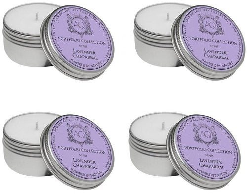 Aquiesse Travel Tin Candle Set, 4 Pack, Lavender Chaparral