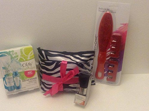 Cosmetic Bag Set: Olay Cleansing System, Cosmetic Bag, Professional Brush, Pedicure Set