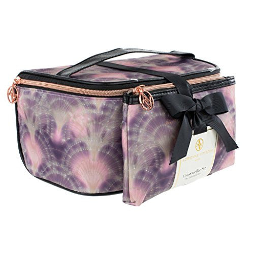 Adrienne Vittadini Set of 2 Train Cases Black and Purple Mermaid