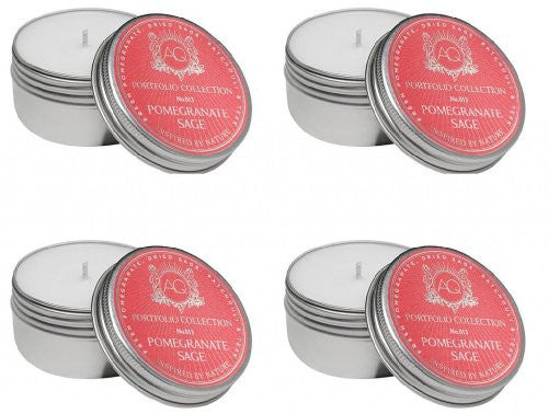 Aquiesse Travel Tin Candle Set, 4 Pack, Pomegranate Sage