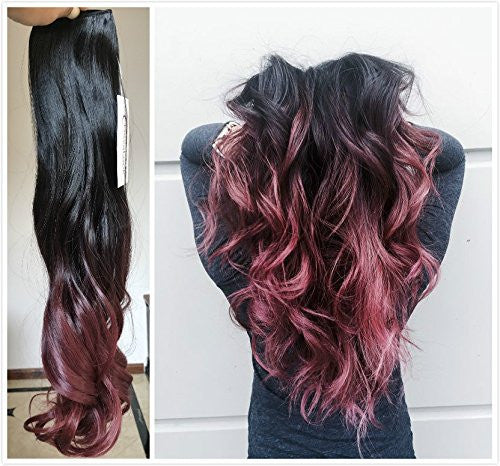 Devalook hair extensions esbelle beauty 34 full head clip in hair extensions ombre one piece 2 tones wavy curly pmusecretfo Images