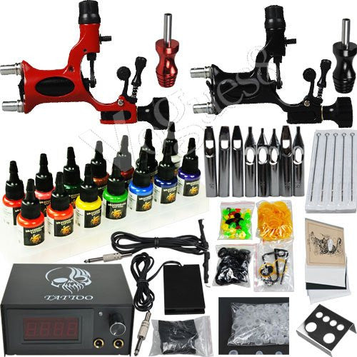 Professional Complete Tattoo Kit 2 Top Rotary Machine Gun 7 Color Ink 50 Needles Power Supply